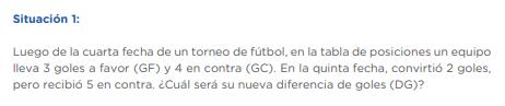 Luego de la cuarta fecha de un torneo de fútbol, en la tabla de posiciones un equipo lleva 3 goles a favor (GF) y 4 en contra (GC). En la quinta fecha, convirtió 2 goles, pero recibió 5 en contra. ¿Cuál será su nueva diferencia de goles (DG)?