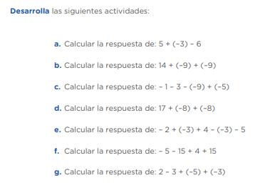 Calcular la respuesta de: 5 + (–3) – 6 Calcular la respuesta de: 14 + (–9) + (–9) Calcular la respuesta de: – 1 – 3 – (–9) + (–5) Calcular la respuesta de: 17 + (–8) + (–8) Calcular la respuesta de: – 2 + (–3) + 4 – (–3) – 5 Calcular la respuesta de: – 5 – 15 + 4 + 15 Calcular la respuesta de: 2 – 3 + (–5) + (–3)