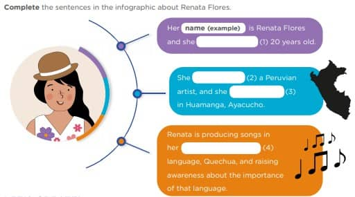 People Who Make a Difference - Activity 5: Do it yourself! - LEAD IN - Complete the sentences in the infographic about Renata Flores.