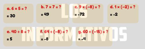 """Observemos los videos """"Multiplicando números positivos y negativos"""" y """"Dividir números positivos y negativos"""", los cuales encontrarás en la sección """"Recursos para mi aprendizaje"""". En ellos se observa cómo se realizan estas operaciones con números enteros. Con esta información, resolvemos la ficha """"Multiplicar y dividir con números negativos"""", la cual encontrarás en la sección """"Recursos para mi aprendizaje"""", para afianzar los aprendizajes sobre la multiplicación y división con enteros. 6 × 5 = ? 7 × 7 = ? 9 × (–8) = ? 1 × (–2) = ? 40 ÷ 8 = ? 64 ÷ (–8) = ? 60 ÷ (–15) = ?"""