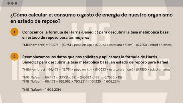 ¿Cuál es el consumo o gasto de energía de nuestro organismo en estado de reposo?